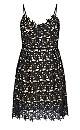 So Fancy Crochet Fit & Flare Dress - Black
