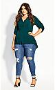 Plus Size Fierce Longline Shirt - jade