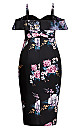 Plus Size Love Blooms Dress - black