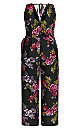 Vintage Floral Jumpsuit - black