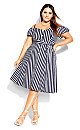 Plus Size Stripe Affair Dress - navy stripe