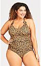 Plus Size Ocelot 1 Piece Caramel Animal Print Swimsuit