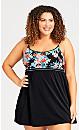 Plus Size Margot Swim Dress Black Blue Floral
