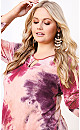 Plus Size Tie Dye Cage Top - pink