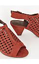 WIDE FIT Rust Laser-cut Cone Heels