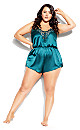 Plus Size Stella Satin Playsuit - emerald