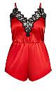 Plus Size Stella Satin Playsut - red