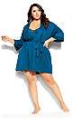 Chemise And Robe Set - teal