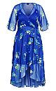 Blue Floral Maxi Dress - blue