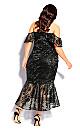 Lace Aflutter Dress - black