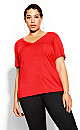 Plus Size Deep V Tee - red