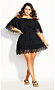 Plus Size Crochet Detail Dress - black