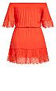 Plus Size Crochet Detail Dress - papaya