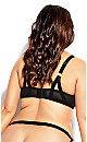 Plus Size Angelika Crotchless Panty - black