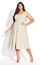 Plus Size Stripe Stroll Dress - ivory