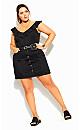 Denim Charm Skirt - black