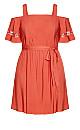 Trim Shoulder Dress - rust