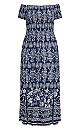 Plus Size Paisley Spirit Maxi Dress - navy