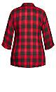 Plus Size Boyfriend Check Shirt - red