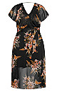 Plus Size Gypsy Floral Dress - black