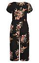 Plus Size Gypsy Floral Jumpsuit - black