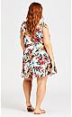 Plus Size Patong Print Dress - white
