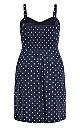 Plus Size Tie Spot Dress - navy