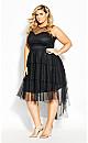 Mesh Bardot Dress - black