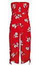 Plus Size Love Floral Jumpsuit - red