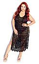 Plus Size Sheer Lace Maxi Dress - black