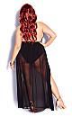 Plus Size Maxi Split Skirt - black
