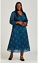 Plus Size Love Lace Dress - teal