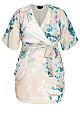 Plus Size Dreamy Floral Wrap Dress -straw