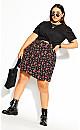 Plus Size Ditsy Daze Skirt - black