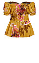 Plus Size Malaga Floral Top - gold