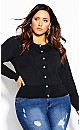 Plus Size Luxe Button Cardi  - black