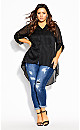 Plus Size Elegant Stripe Shirt - black