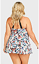 Plus Size Halter Neck Swim Dress - white