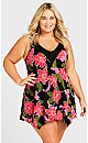Plus Size Gerbera Swim Dress - pink