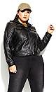 Plus Size Layered Hoodie Jacket - black
