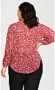 Plus Size Pleat Button Blouse - red