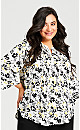 Plus Size Pleat Zip Printed Blouse - ivory