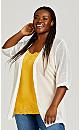 Plus Size Mesh 3/4 Sleeve Cardigan - white
