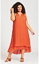 Halter Trim Dress - orange