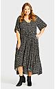 Plus Size Val Print Dress - black spot