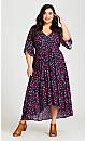 Plus Size Val Print Dress - black