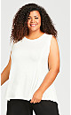 Plus Size Fit N Flare Tank - ivory