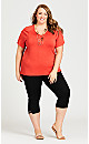 Plus Size Crochet Cut Out Top - red