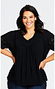 Plus Size Crochet Trim Top - black