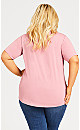 Plus Size Knit Pleated Top - dark rose